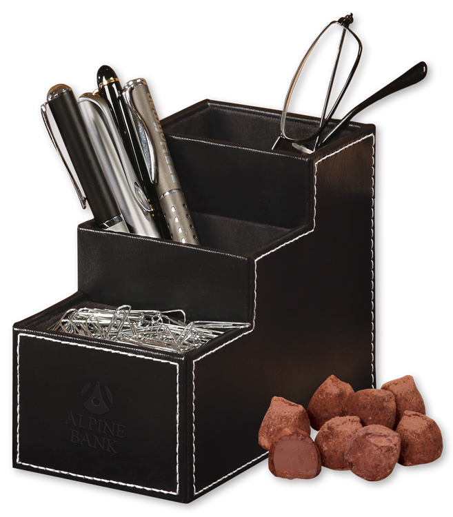 354828115-117 - Faux Leather Desk Organizer with Cocoa Dusted Truffles - thumbnail
