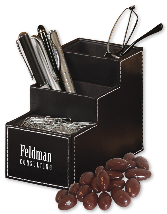 554828113-117 - Faux Leather Desk Organizer with Chocolate Covered Almonds - thumbnail