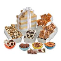 956427766-117 - Gold & Silver Individually-Wrapped Tower of Snacks - thumbnail