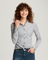 345705889-106 - Cutter & Buck Ladies Long Sleeve Stretch Oxford Stripe - thumbnail