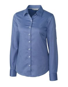 974203166-106 - Ladies' Cutter & Buck® Epic Easy Care Mini Herringbone Shirt - thumbnail